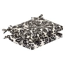 pillow perfect outdoor black beige damask squared seat cushions set of 2 black patio chair cushions