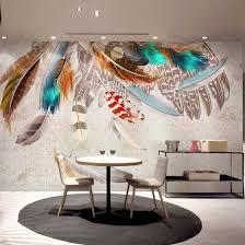 Fashion Colorful <b>Feather</b> 3D Mural Wallpaper <b>Modern Abstract Art</b> ...