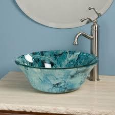 bathroom sink wash basin stand green glass round vessel art basin translucent grey tempered glass