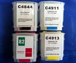 <b>refillable ink</b> CARTRIDGES <b>1SET</b> 82 for HP DESIGNJET 500 800 ...