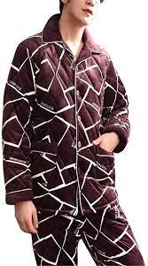 Lonimor Autumn Winter <b>Three</b>-<b>Layer</b> Thick Men Pajamas Flannel ...