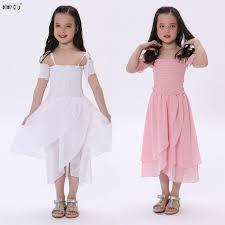 <b>Summer Children Dress Girls Clothes</b> Off Shoulder Sling Irregular ...