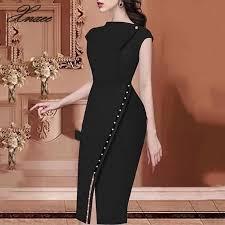 <b>2020</b> Women <b>Elegant</b> Casual Office Look Workwear Slit Party Dress ...