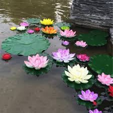 High Quality <b>5PCS Real Touch Artificial</b> Lotus Flower Foam Lotus ...