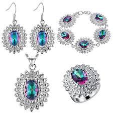 <b>Thick silver jewelry set</b> of chrysanthemum set color treasure set of ...