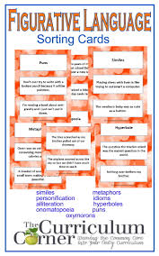 figurative language cards the curriculum corner  figurative language sorting cards from the curriculum corner similes metaphors personification