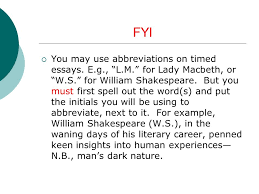 """notes on """"macbeth"""" essay   mr  cleon m  mclean a p  english    fyi  you   use abbreviations on timed essays  e g   """"l m """" for"""