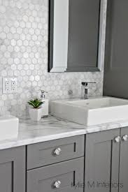 countertops popular options today: formica fx calacatta marble laminate countertop hexagon mosaic marble backsplash and chelse gray vanity in