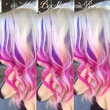 Blonde <b>pink and purple</b> hair