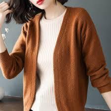 <b>BARESKIY 2019 new</b> solid color sweater <b>cashmere</b> cardigan female ...