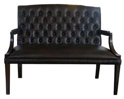 Casa Padrino Chesterfield Genuine Leather <b>2-Seater Bench</b> with ...