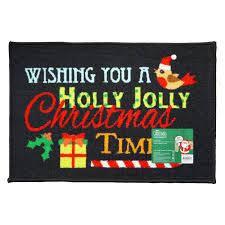 60x40cm <b>Christmas Themed</b> Machine <b>Washable</b> Mat Holly Jolly ...