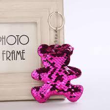 New Sequins <b>Love Keychain</b> Shiny Reflective <b>Cartoon</b> Couple ...