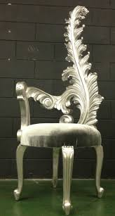 images hollywood regency pinterest furniture: hollywood regency silver amp grey feather leaf tall one sided arm chair