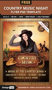 country music night flyer psd template designyep country music night flyer psd template