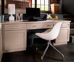 gray cabinets in casual office by kitchen craft cabinetry casual office cabinets