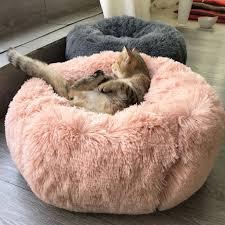 40 100cm Long Plush Round Dog <b>Bed</b> Soft Winter <b>Cat Beds</b> ...