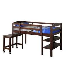 solid wood twin over loft bunk bed w writing desk espresso style and bunk bed computer desk