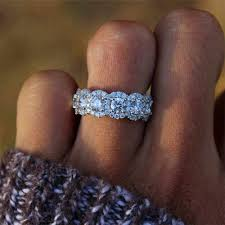 2019 New Fashion <b>Big Pink Zircon Stone</b> Silver Rings for Women ...