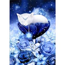 Haayward Sleeping Cat with Glitter Flower <b>5D DIY Full Diamond</b> ...
