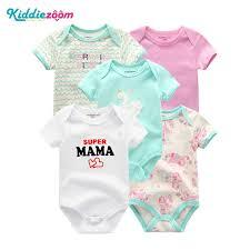 <b>5 PCS</b>/<b>lot</b> Newborn <b>Baby Girl Bodysuit</b> Short Sleevele Playsuits ...