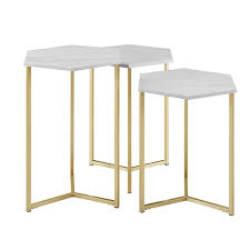 Walker Edison Modern Wood <b>Nesting Table Set</b> - <b>3</b> Pieces - Faux ...