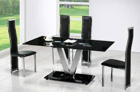 Contemporary Black Dining Room Sets Rectangle Black Table With Silver Steel Legs With V Shape Combined
