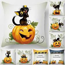 18 inch <b>Halloween cartoon</b> cat double-sided printing square ...