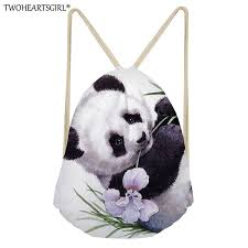 <b>TWOHEARTSGIRL</b> Cute Panda Pattern <b>Women Drawstring Bag</b> ...