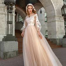 Lorie <b>Champagne Princess Wedding</b> Dress A Line Puff Sleeve ...