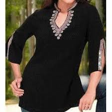 indian black color cotton kurti full sleeve