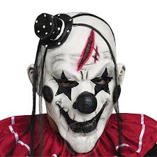 Cosplay <b>Deluxe Horrible Scary Clown</b> Mask Adult Men Latex White ...