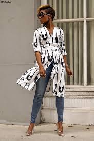 2019 new women letter print v-neck long sleeve maxi blouses shirts ...