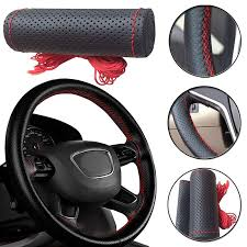 1Pc Car steering wheel cover <b>Genuine Leather Hand stitching</b> for ...