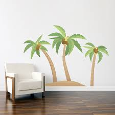 palm tree wall stickers:  three palm trees color wall decal