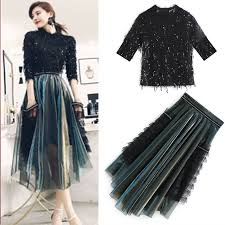 <b>New Spring Autumn Women's</b> Skirts Suits Sequins Shiny Tassels ...