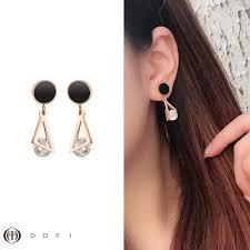 【DDFI】Triangle round zircon <b>Korea simple geometric earrings</b> ...