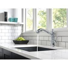 view delta dst installed faucet delta cassidy single handle pull out sprayer kitchen faucet in arctic