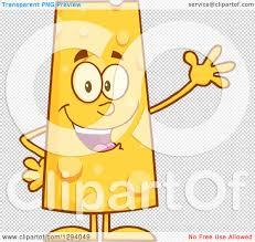 clipart of a cartoon happy cheese character waving royalty free vector illustration