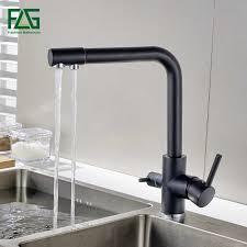 <b>FLG</b> Water Filter <b>Kitchen Faucets</b> Deck Mount Black Mixer Tap <b>360</b> ...