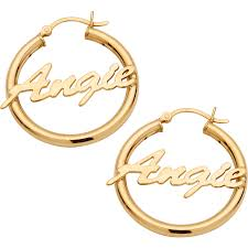 Personalized 14kt Gold Plated Sterling Silver <b>Name Hoop Earrings</b>