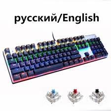 metoo zero wired backlit mechanical gaming keyboard with 104 87 keys blue switch russian stickers for gamer dota 2 pk anne pro