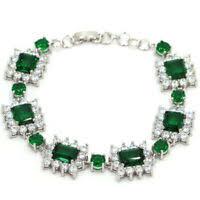 Elegant <b>Green Peridot White</b> CZ Woman's Party Silver Bracelet 7.0 ...