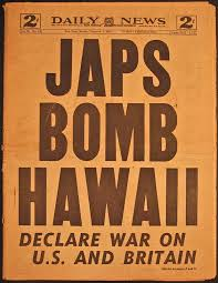 「1941, japanese attacked pearl harbor, newspapaers articles」の画像検索結果