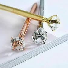 2Pcs <b>Creative Big</b> Diamonds <b>Metal</b> Pens Gem Crystal Ballpoint Pen ...