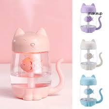 【MK】350ml <b>Cartoon Cat</b> LED Night Light <b>Humidifier</b> Mini <b>Fan</b> Car ...