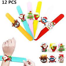 Poluka 12Pcs <b>Christmas</b> Slap Bracelets <b>Silicone</b> Wristbands <b>Xmas</b> ...