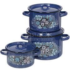 Набор <b>эмалированной</b> посуды СтальЭмаль Голубика 1с33 ...