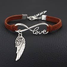 Silver Color Brown Leather Rope Charm Bracelets Women Men ...
