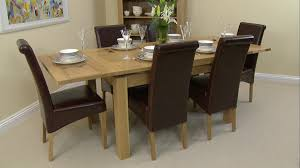 extendable dining table set: solid oak extending dining table  brown leather chairs where can i